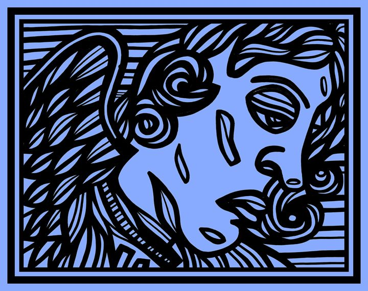 Blue Black Angel Cherub - Eddie Alfaro Art