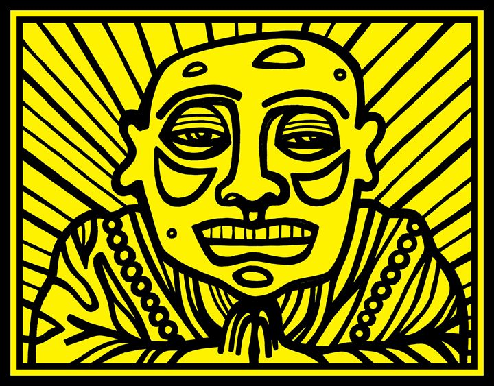 Black, Yellow, Buddha - Eddie Alfaro Art