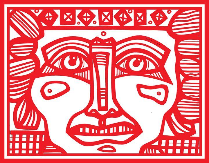Red, White, Mayan Warrior - Eddie Alfaro Art