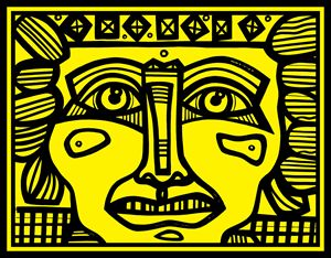 Yellow, Black, Mayan Warrior