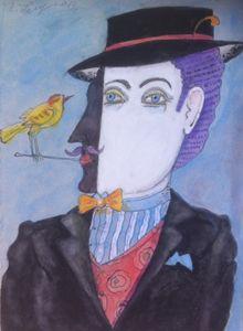 art painting Man Birds drawing figur