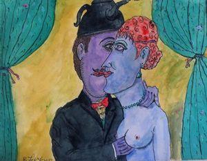 Couple Love Painting Original Art Oi