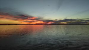 Colorful Sunset On The Lake.