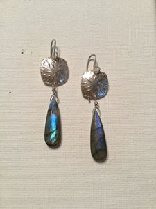 Fine Silver & Laboradite Earrings