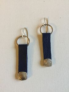 Navy Leather & Fine Silver Earrings
