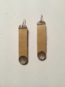Blonde Leather & Fine Silver Earring