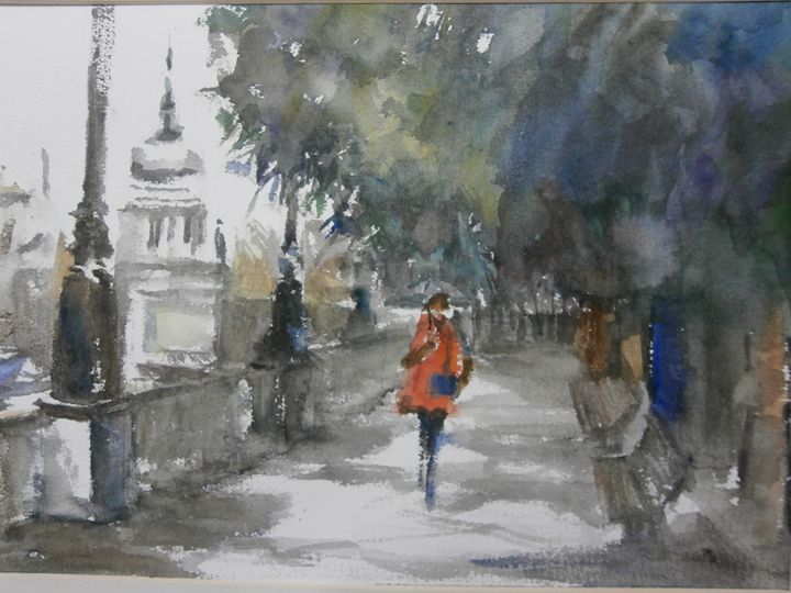 Raining day in London - Watercolour by Margaret Lor