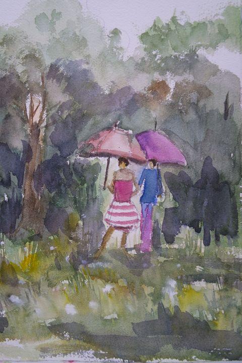 Raining - Watercolour by Margaret Lor