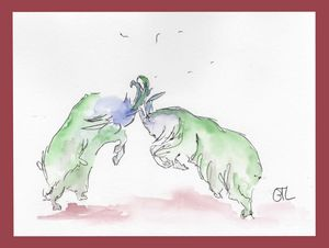 fighting goats, original watercolor