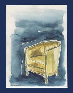 Green armchair, original watercolor - GTL atelier