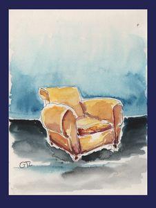 Brown armchair original watercolor - GTL atelier