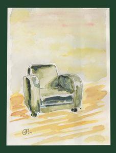Green armchair original artwork - GTL atelier