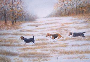 Three Beagles and a Bunnu - RaVell Fine Art Studio