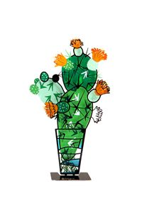 Sabra Cactus Plant in a Pot Stand - Tzuki Design