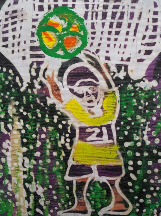 Goalkeeper on the net catch ball - JoshuaArtBatikStudio