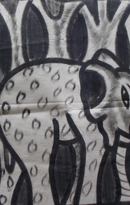 Black and white elephant - JoshuaArtBatikStudio
