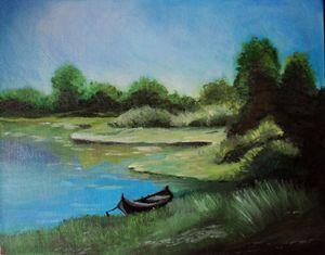 Landscape Lake Oil Painting