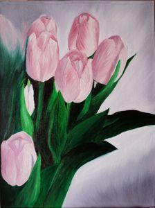 Pink Tulips Original Oil Painting