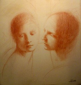 Conversation Original Drawing in red