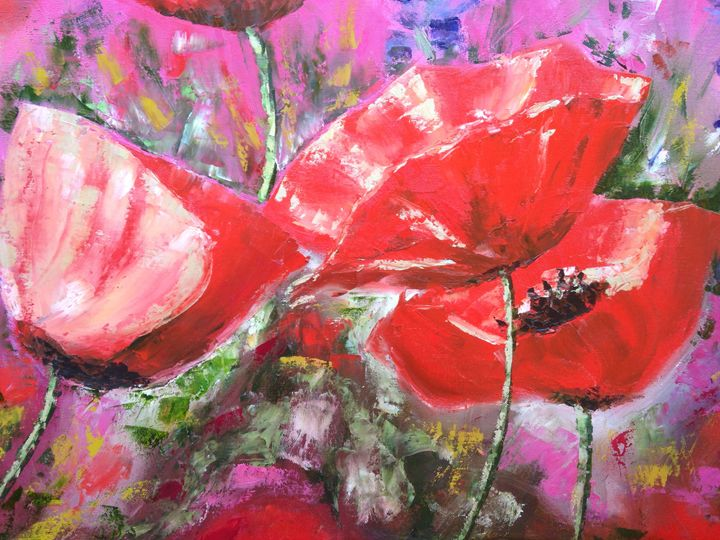Bright Pink and Red Poppies 2 - Emma Bell Fine Art