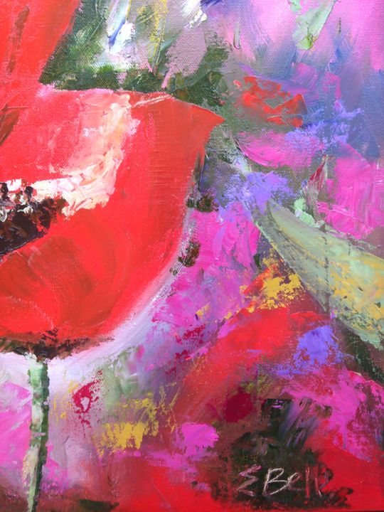 Bright Pink and Red Poppies 3 - Emma Bell Fine Art