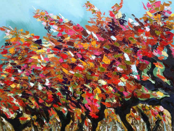 Zinfandel grapevine in the fall - Emma Bell Fine Art