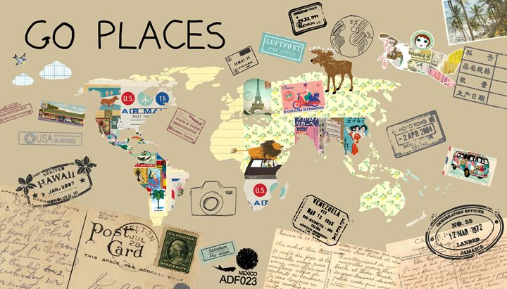 Go places world map collage greennest paintings prints places go places world map collage greennest gumiabroncs Images