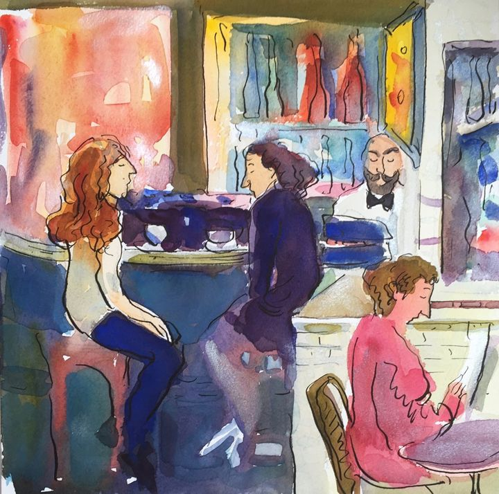 Cafe in Bastille - VARVARA BRACHO ART