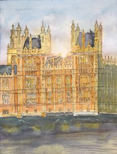 Watercolor of Westminster at sunset
