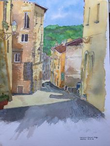 watercolor of a street in Orvietto