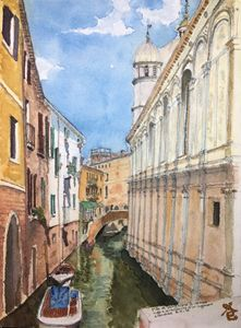 watercolor of a Venice canal, Itay