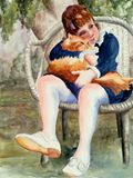 watercolor painting of girl and cat