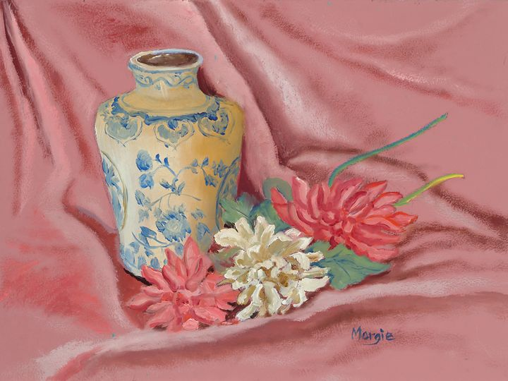 Chinese vase with Flowers - Margie's art