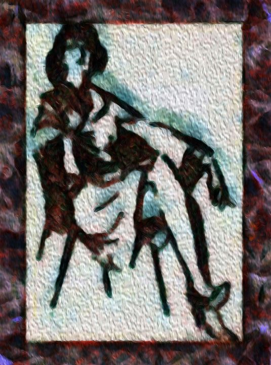 WOMAN WITH A CIGARETTE - DARIUS SIMONIS DRAWINGS PAINTINGS