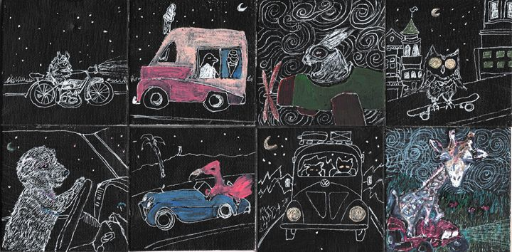 Animals Driving At Night - Shoshanah's Art