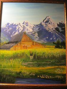 Old barn with Tetons in backgrund