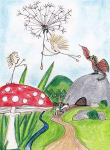 Polot flying on dandelion