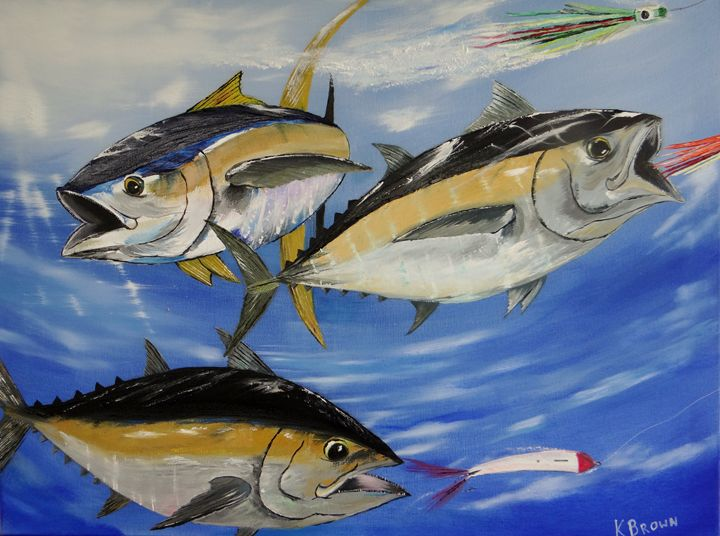 Tuna Attack - Ocean Blue Paintings