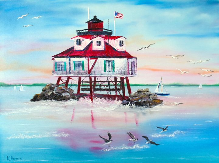 Thomas Point Lighthouse - Ocean Blue Paintings