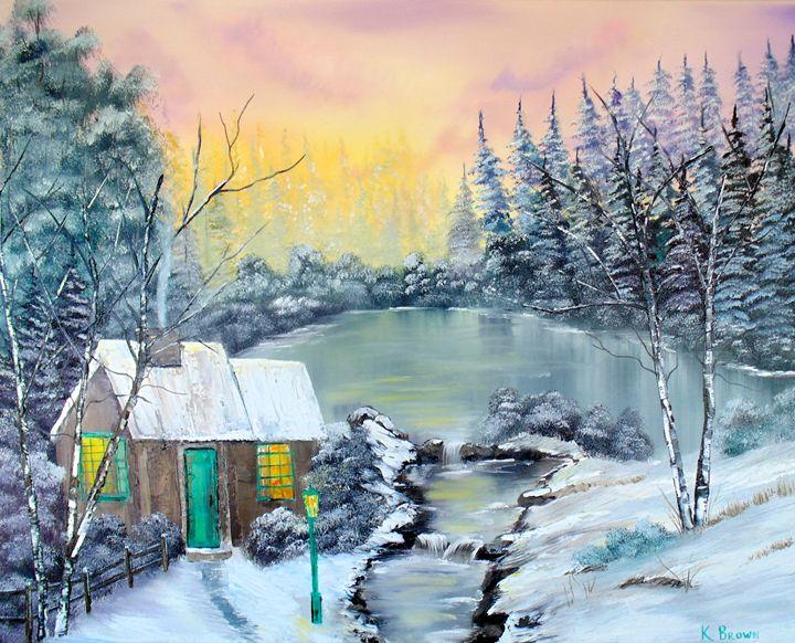 Winter Cabin - Ocean Blue Paintings