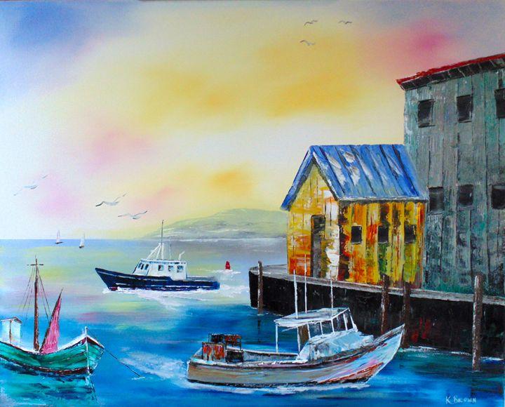 Waterman's Harbor - Ocean Blue Paintings