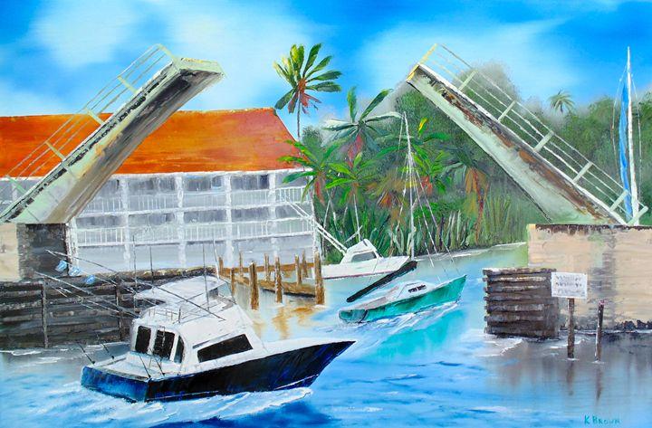 Passing Under the Bridge - Ocean Blue Paintings