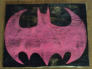pink batman wood decor