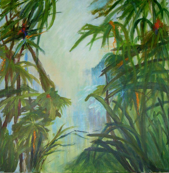 TROPICAL GARDEN . Green (SOLD) - Aase Lind Art