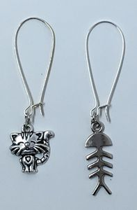 Cat & Fishbone Dangle Earrings