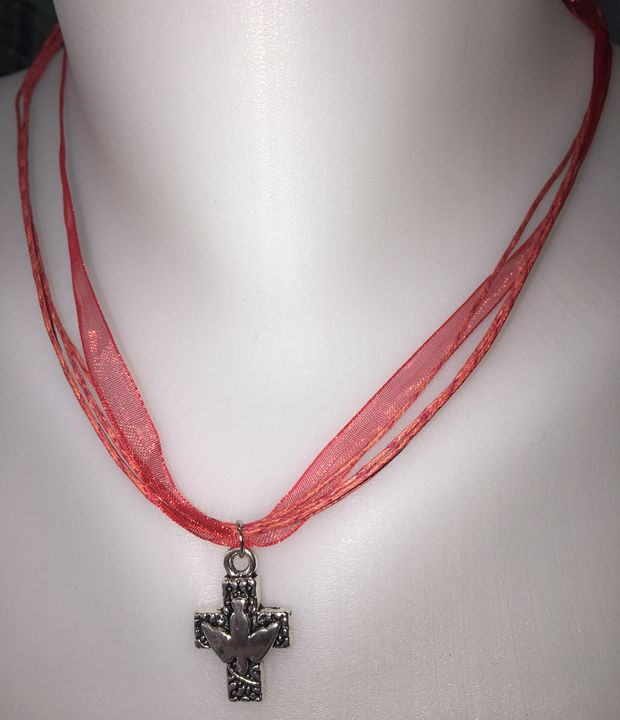 Cross & Dove Red Ribbon Necklace - Silkartist