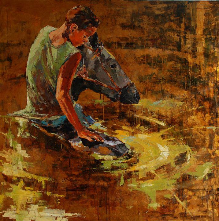 Boy bathing a horse - MikolajczakArt