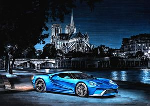 FORD GT CAR IN PARIS CITY AT NIGHT