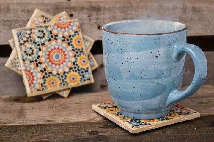Flower Pattern Coasters - Set of 4 - ArtByLaurenBritz