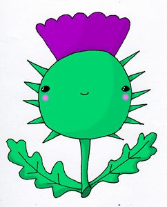 Kawaii Cute Wee Scottish Thistle